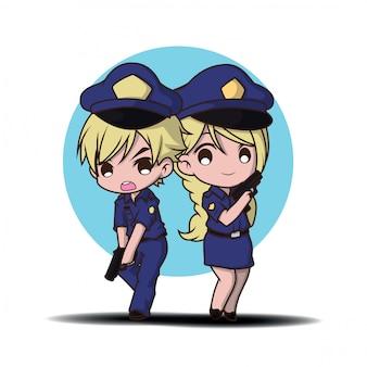 Poliziotto sveglio che lavora in uniforme che sta felice