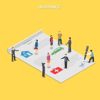 Polizza assicurativa piatta isometrica.