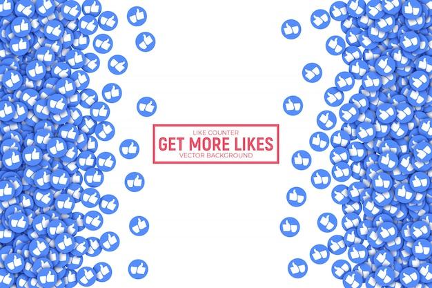 Pollice blu 3d di facebook su fondo astratto delle icone