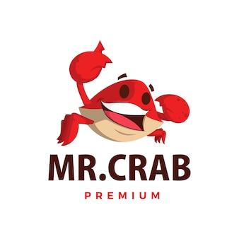 Pollice del granchio sull'illustrazione dell'icona di logo del carattere della mascotte