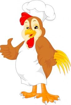 Pollice di cartone animato carino gallo chef su