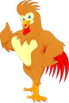 Pollice di cartone animato carino gallo su