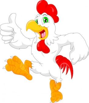 Pollice di cartone animato carino gallo
