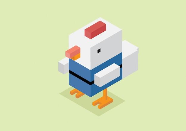 Pollo 3d isometrico bianco.