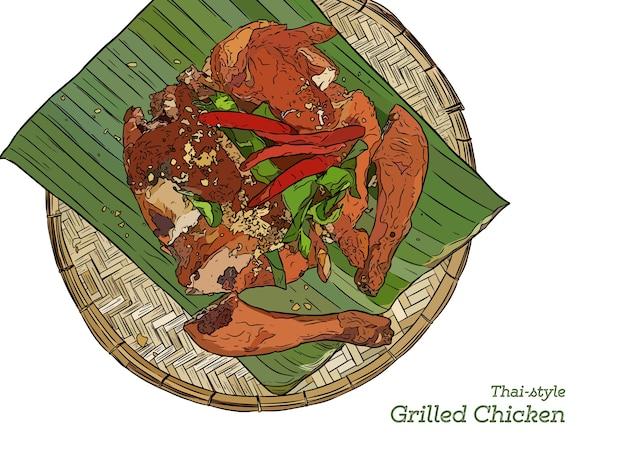 Pollo alla griglia sul vassoio di legno, stile asiatico. schizzo a mano.