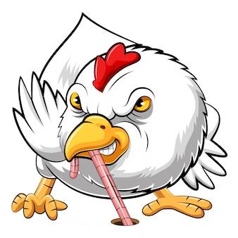 Pollo arrabbiato che mangia verme