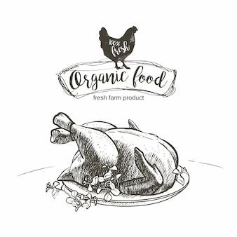 Pollo arrosto condito sul piatto con le erbe.