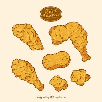 Pollo fritto disegnato a mano