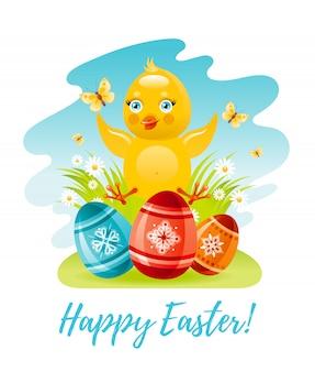 Pollo sveglio di pasqua del fumetto con le uova di colore. illustrazione di vacanze di primavera.
