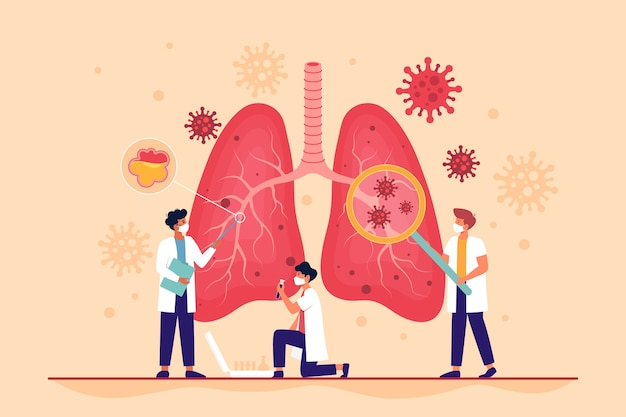 Polmoni affetti da coronavirus con polmonite