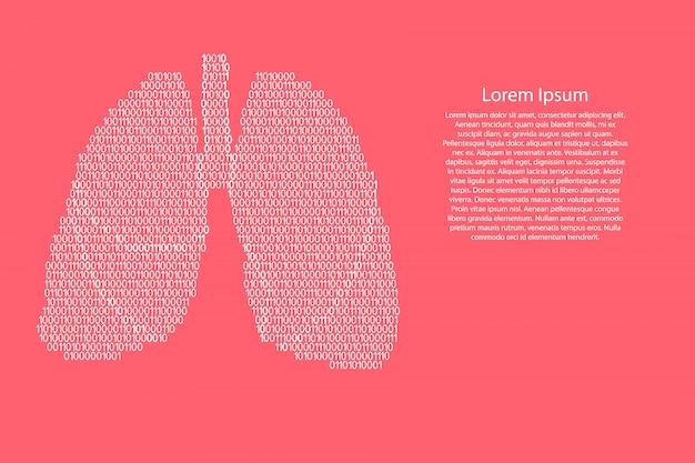 Polmoni anatomia umana organo respiratorio schematica da bianco e zeri codice digitale binario di zeri su colore rosa corallo per banner, poster, cartolina d'auguri. .