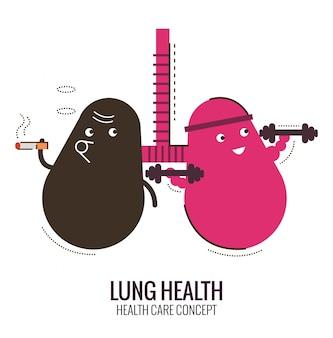 Polmoni di una persona sana e fumatore. pericolo di fumo. disegno piatto sottile di carattere. illustrazione vettoriale