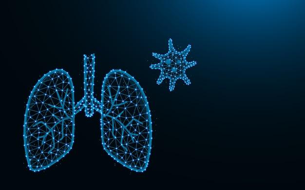 Polmoni e virus fatti da punti e linee, illustrazione poligonale della maglia wireframe del sistema respiratorio