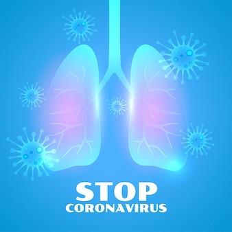 Polmoni infetti dallo sfondo di malattia coronavirus notturna