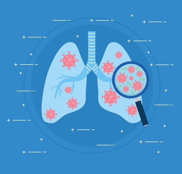 Polmoni infetti di covid19 umano con illustrazione di lente di ingrandimento