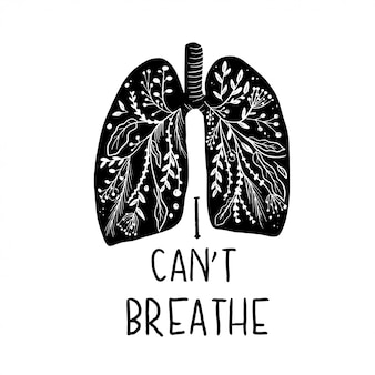 Polmoni, posso respirare citazione, illustrazione.