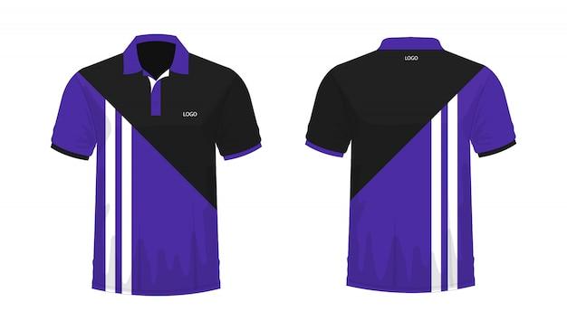 Polo t-shirt modello viola e nero per il design su sfondo bianco.
