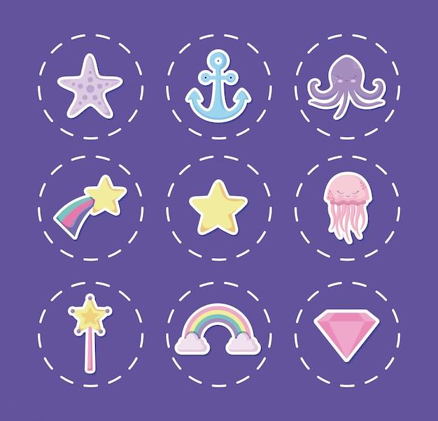 Polpo carino con icone set