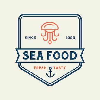 Polpo di frutti di mare per il design del logo della linea ristorante
