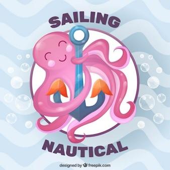 Polpo rosa nizza con un fondo di ancoraggio