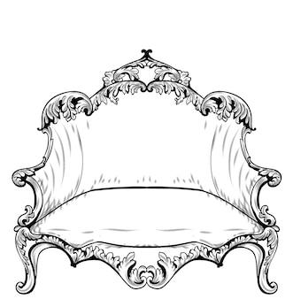 Poltrona barocca con ornamenti di lusso. vector francese ricca struttura intricata di lusso. decori in stile vittoriano