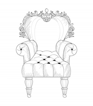 Poltrona barocca francese struttura ricca e lussuosa di lusso. decori in stile vittoriano
