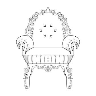 Poltrona con ornamenti di lusso. vettore francese struttura ricca di lusso di intricato. decorazione di stile reale vittoriano