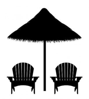 Poltrona da spiaggia e ombrello silhouette contorno nero
