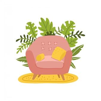 Poltrona e due cuscini. accogliente sedia rosa sul tappeto giallo. mobili e piante in vaso. posto per rilassarsi e leggere libri. illustrazione piatta del fumetto