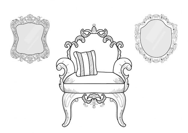 Poltrona e specchi con ornamenti di lusso. vettore francese struttura ricca di lusso di intricato. decorazione di stile reale vittoriano