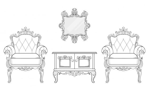 Poltrona e tavolo da salotto con ornamenti di lusso. vettore francese struttura ricca di lusso di intricato. decorazione di stile reale vittoriano