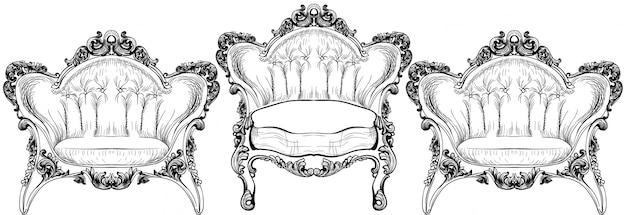 Poltrona elegante barrocco isolata su fondo bianco