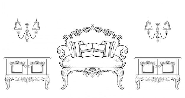 Poltrone e mobili da tavolo con lussuosi ornamenti. vettore francese struttura ricca di lusso di intricato. decorazione di stile reale vittoriano