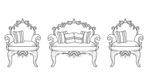 Poltrone e mobili da tavolo con lussuosi ornamenti