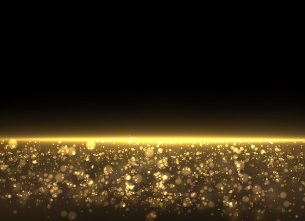 Polvere gialla. le particelle di polvere volano nello spazio. effetto bokeh. raggi di luce orizzontali. bellissimi lampi di luce.