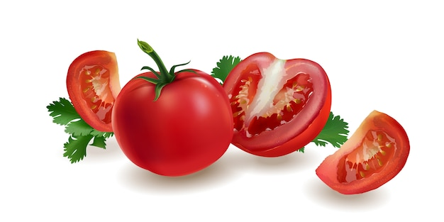 Pomodori su uno sfondo rosso