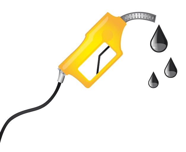 Pompa carburante gialla con illustrazione vettoriale gocce di pioggia