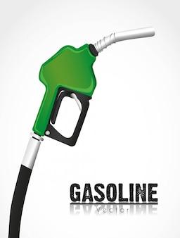 Pompa del carburante verde isolata su bianco