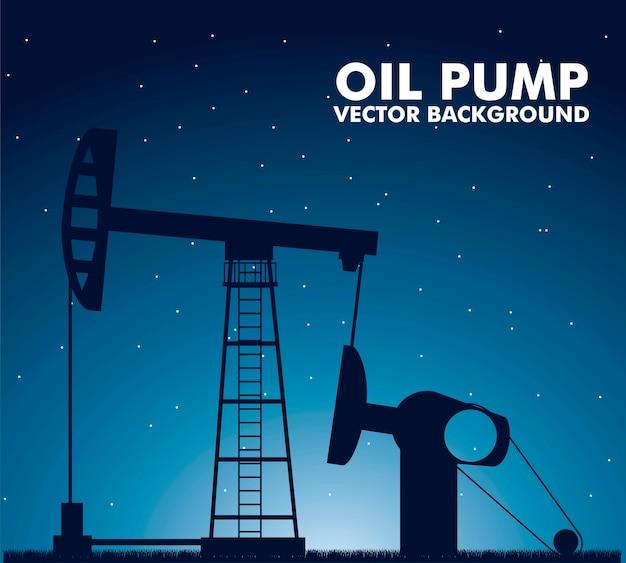 Pompa dell'olio della siluetta sopra l'illustrazione di vettore del fondo di notte