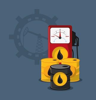 Pompa di benzina con immagine icone relative all'olio di petrolio