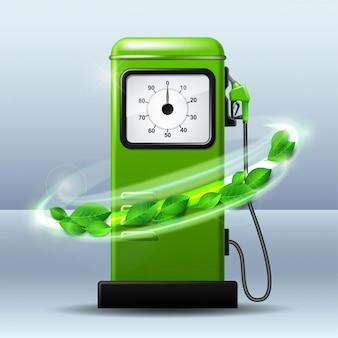 Pompa di benzina verde luminosa con ugello di carburante della pompa di benzina. concetto di biocarburanti