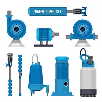 Pompe per acqua, macchinari industriali per pompe elettroniche sistemi in acciaio acque reflue icone della stazione di controllo dell'acqua
