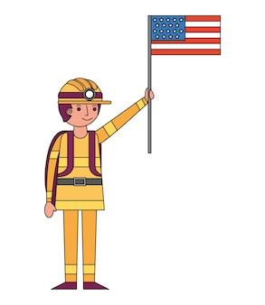 Pompiere con carattere bandiera usa