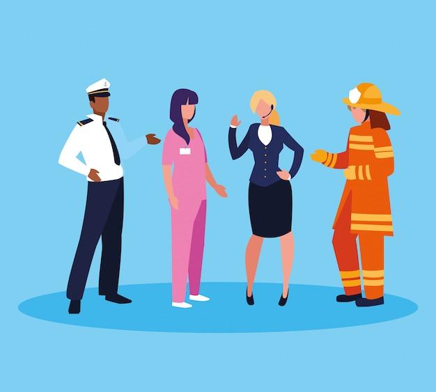 Pompiere con un gruppo di professionisti