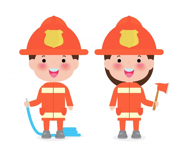 Pompiere di professione con l'illustrazione dell'attrezzatura di protezione antincendio isolata su bianco