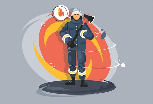 Pompiere di professione. impiegato dei vigili del fuoco. tuta protettiva uniformi resistenti al calore.