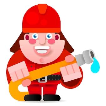 Pompiere pronto ad iniziare l'illustrazione di vettore