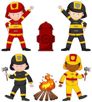 Pompieri e illustrazione di molte attrezzature