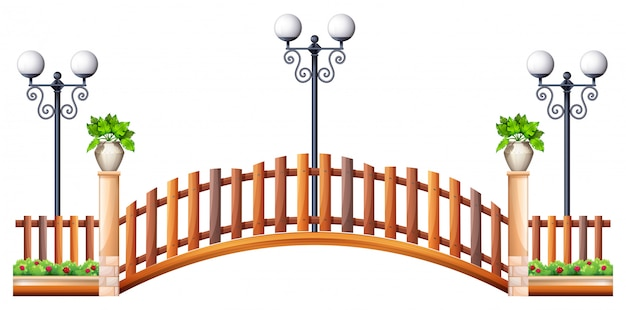 Ponte con recinzione in legno e lampada