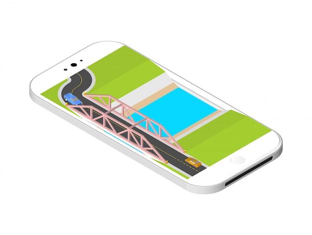 Ponte isometrica con una strada sopra il fiume in piedi sullo schermo dello smartphone. illustrazione vettoriale isolato